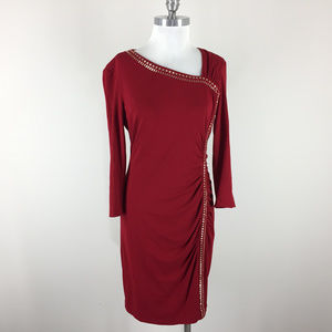 Cache L Red Ruched Sheath dress studded Stretch